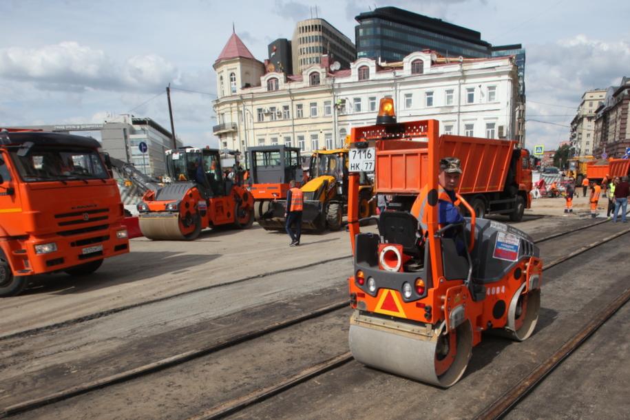 Восстановление трамвайных путей на площади Тверской Заставы