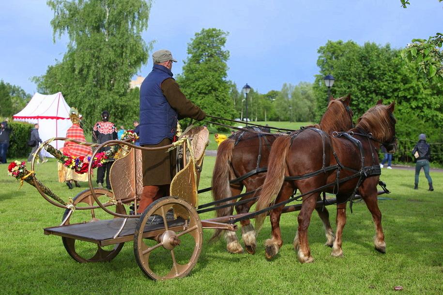 Участник фестиваль Времена и эпохи в Царицыно в конной повозке