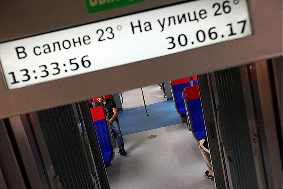Салон электропоезда Иволга на ТПУ Солнечная