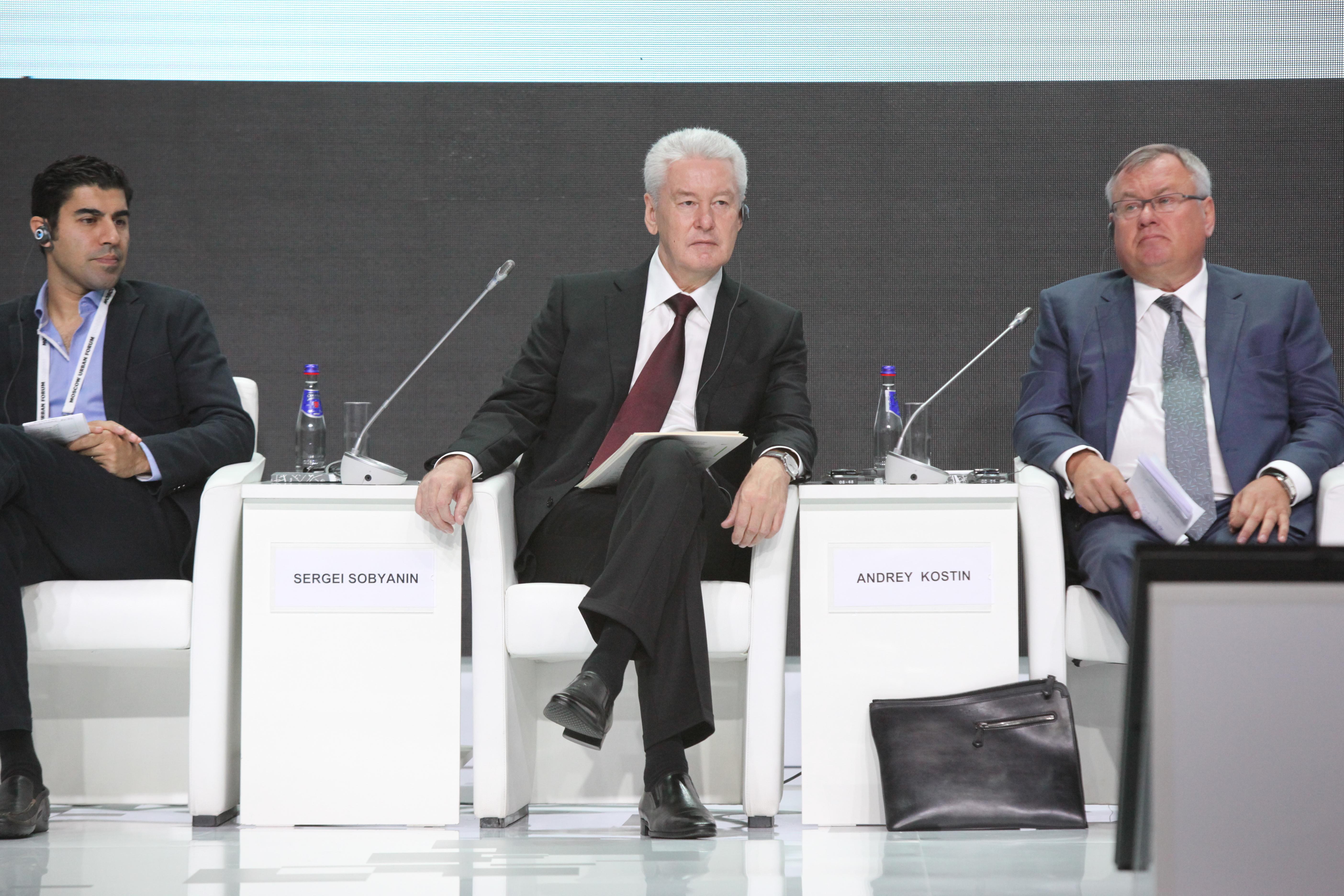 Мэр Собянин и глава ВТБ Костин на Московском урбанистическом форуме
