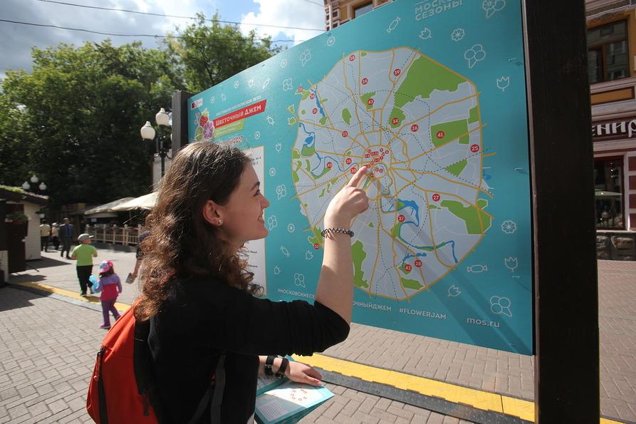 Карта Москвы с указанием площадок фестиваль Московское лето