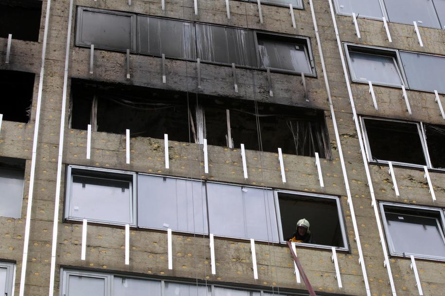Последствия пожара в доме-книжке на Новом Арбате