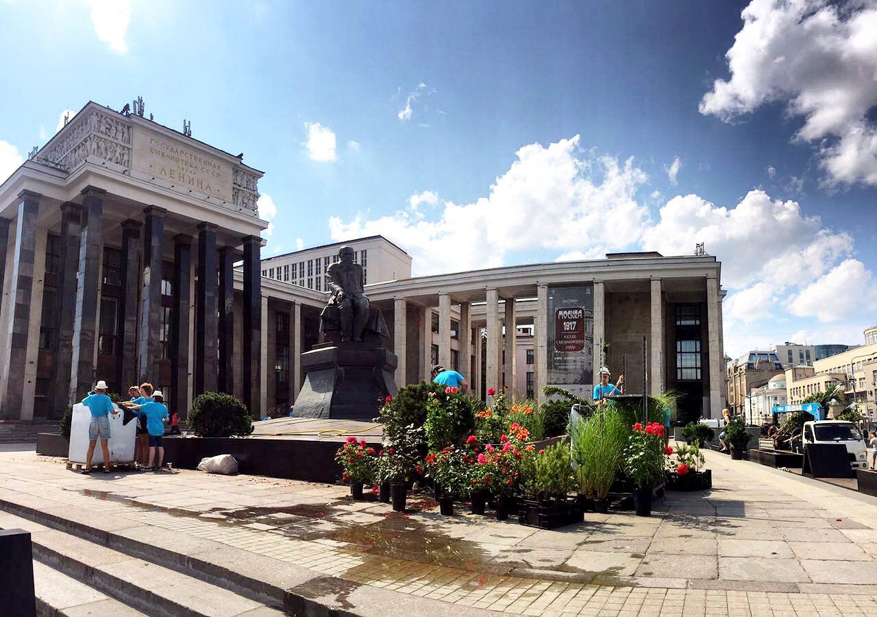 Цветущие растения у памятника Достоевскому перед зданием библиотеки имени Ленина