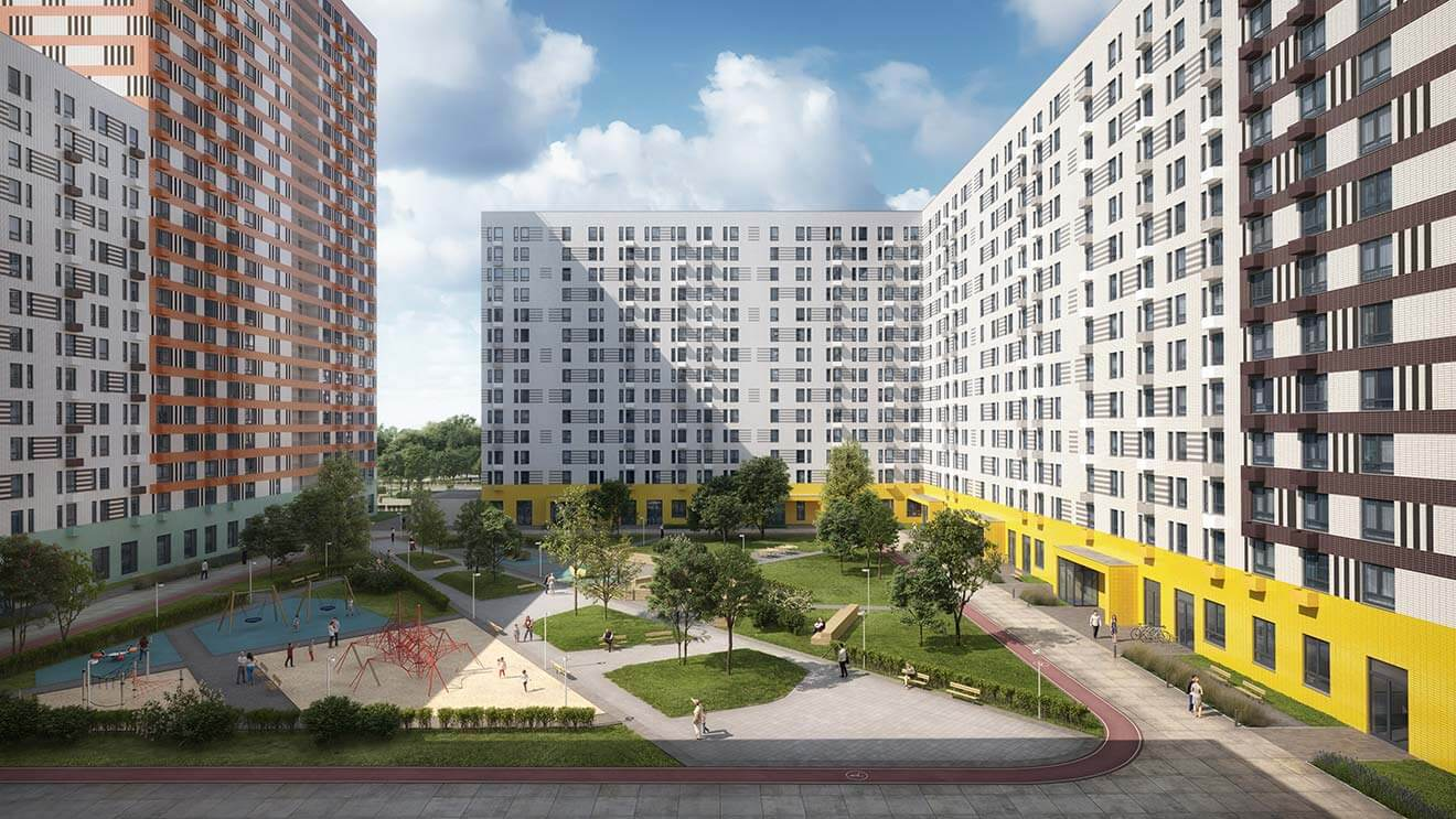 3-д макет нового жилого микрорайона застройщика ПИК