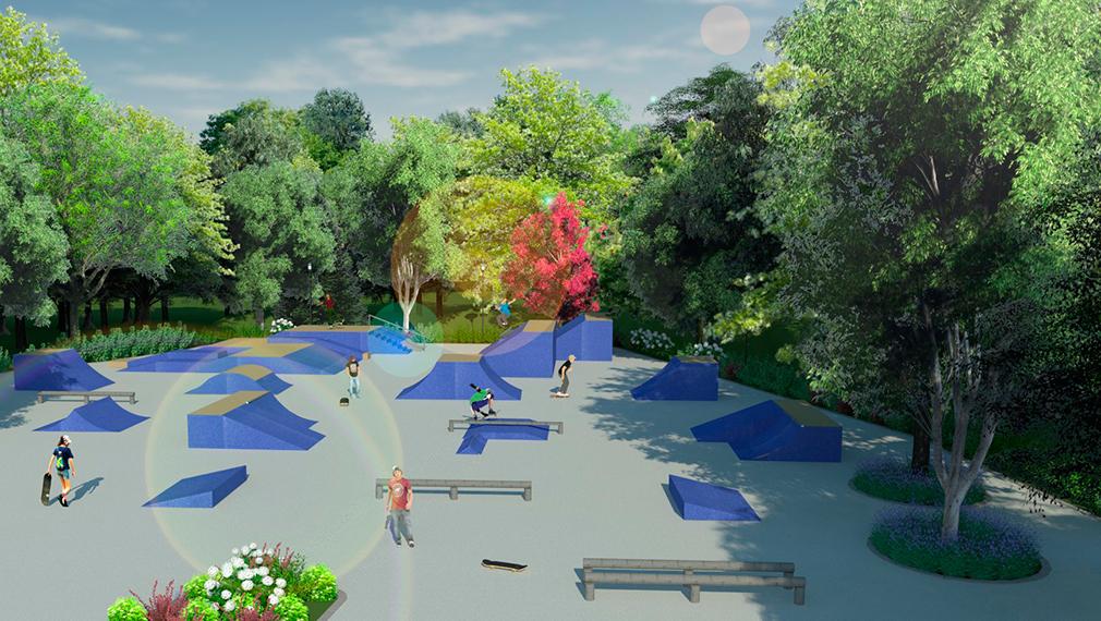 3-д проект спортивной площадки парка после реконструкции