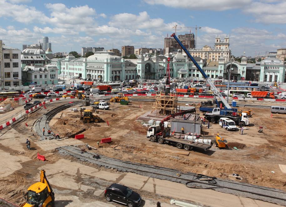 Вид сверху площади Тверская Застава во время реконструкции