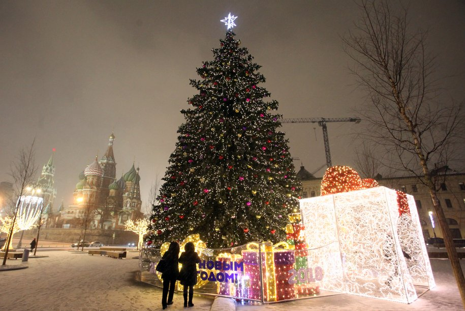 В парке «Зарядье» установили 17-метровую новогоднюю ель