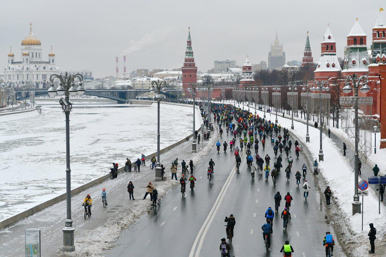 В Москве прошел Третий зимний велопарад