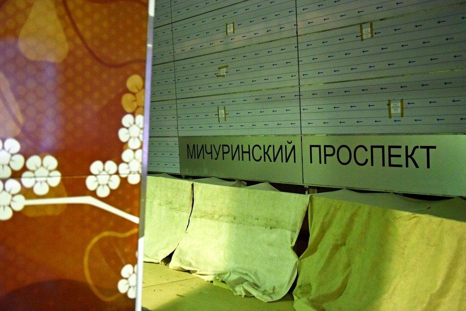 На станции «Мичуринский проспект» началась установка декоративных панелей