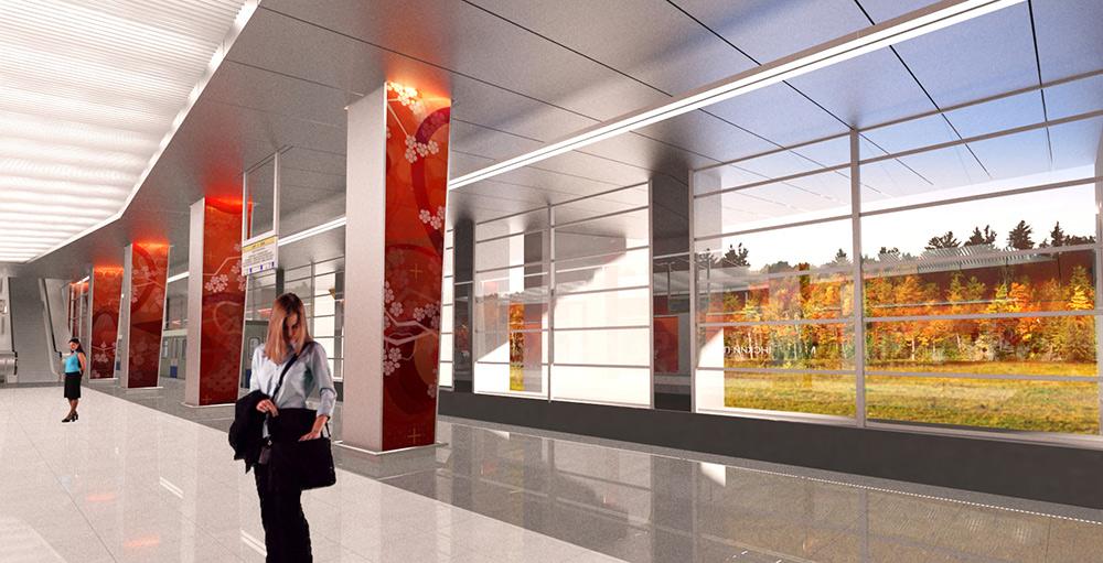 Станцию метро «Мичуринский проспект» украсили декоративными панелями цветущего сада