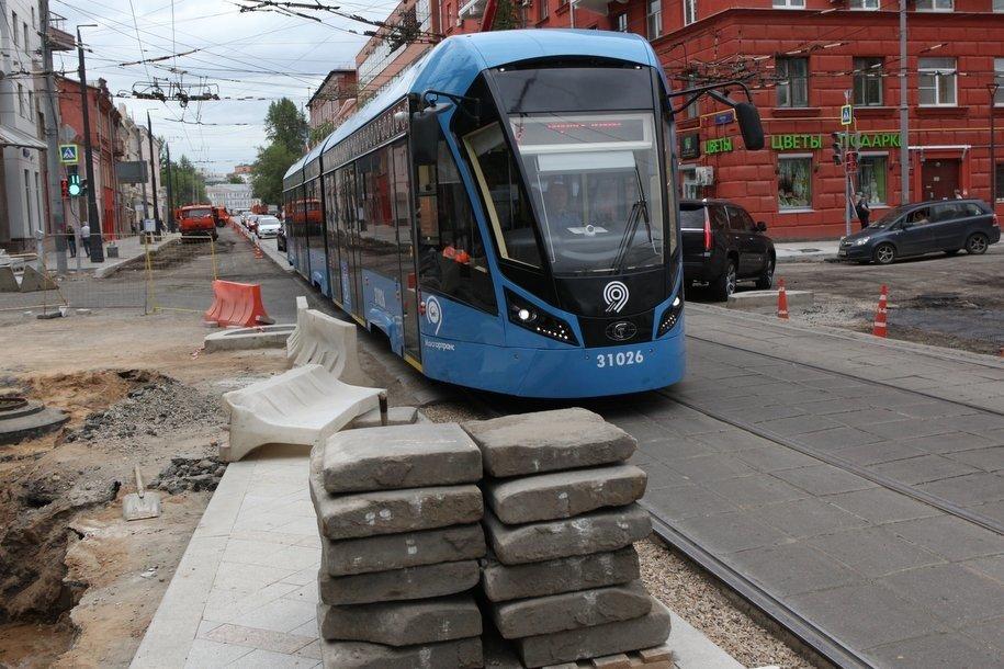 С начала года в Москве отремонтировали 4 км трамвайных путей