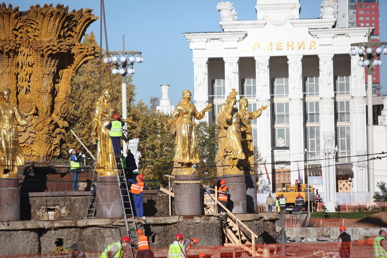 Реконструкция фонтана «Дружба народов» на ВДНХ завершится в апреле 2019 года