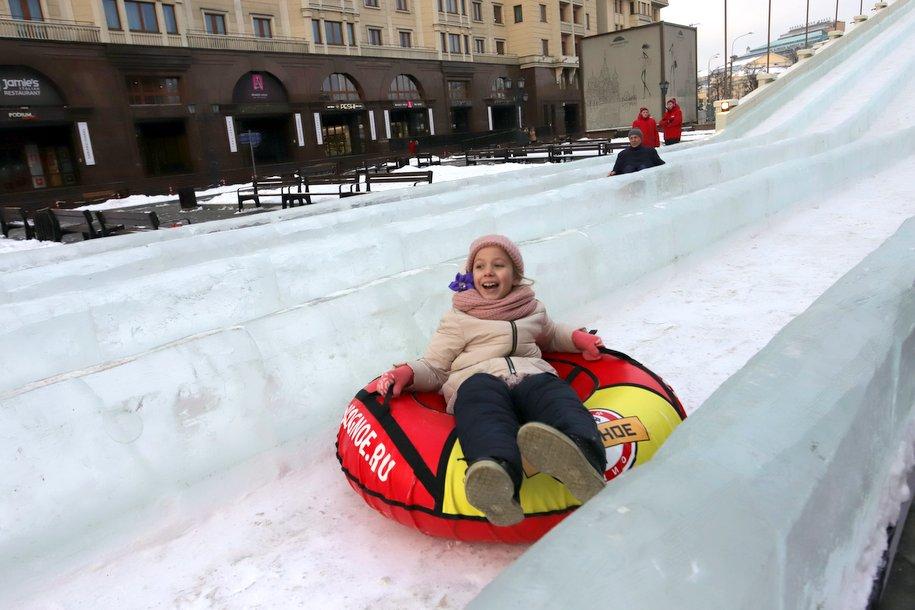 Большая ледяная горка на площади Революции открыта — Сергей Собянин