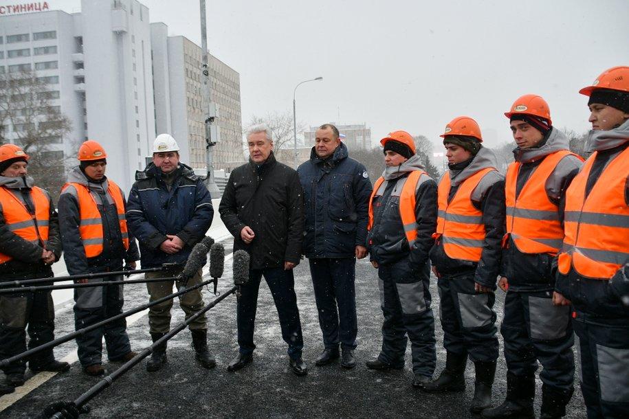 Cергей Собянин открыл новую разворотную эстакаду на Волоколамском шоссе