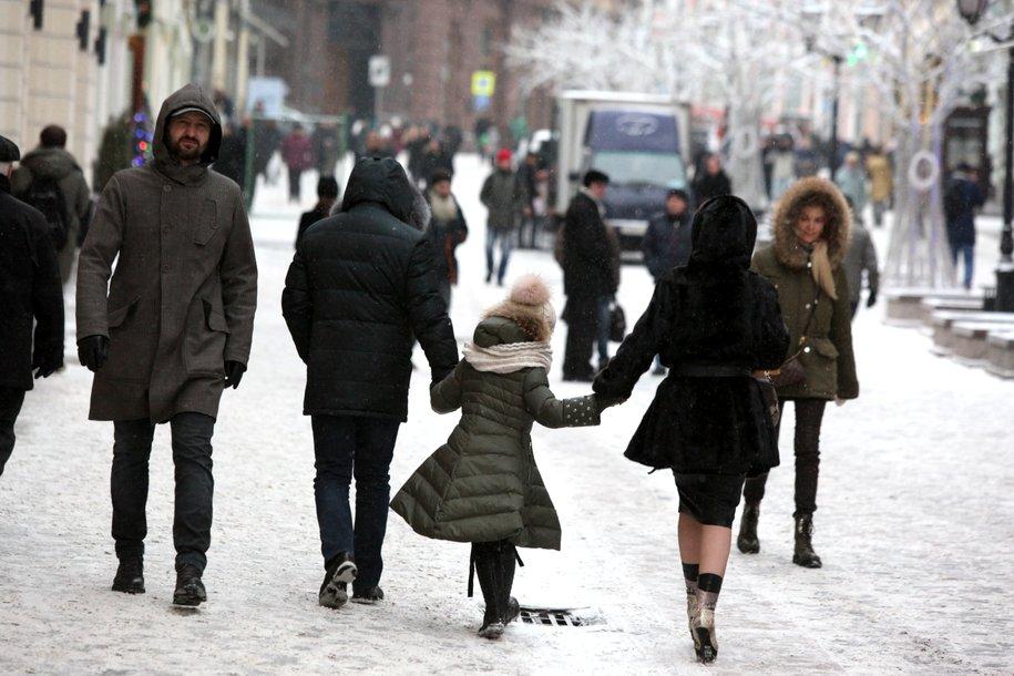 В воскресенье утром в столице прошел снегопад