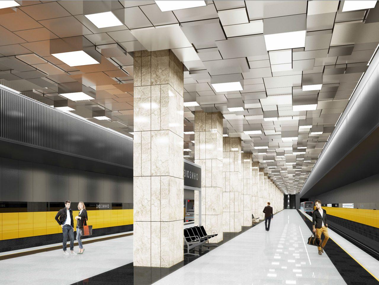 На станции БКЛ «Зюзино» начали сооружать кассовый зал