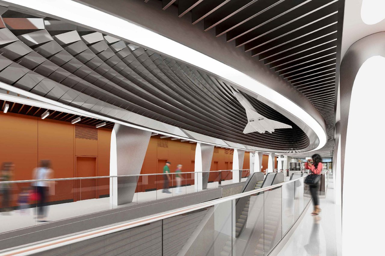 Модель самолета Ту-144 и светильники в виде турбин украсят станцию метро «Пыхтино»