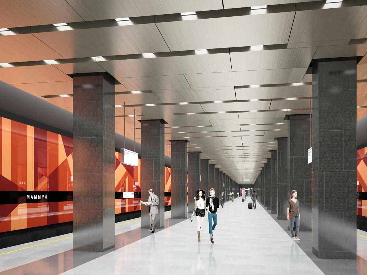 Станцию «Мамыри» Коммунарской линии метро оформят в «осенних» тонах