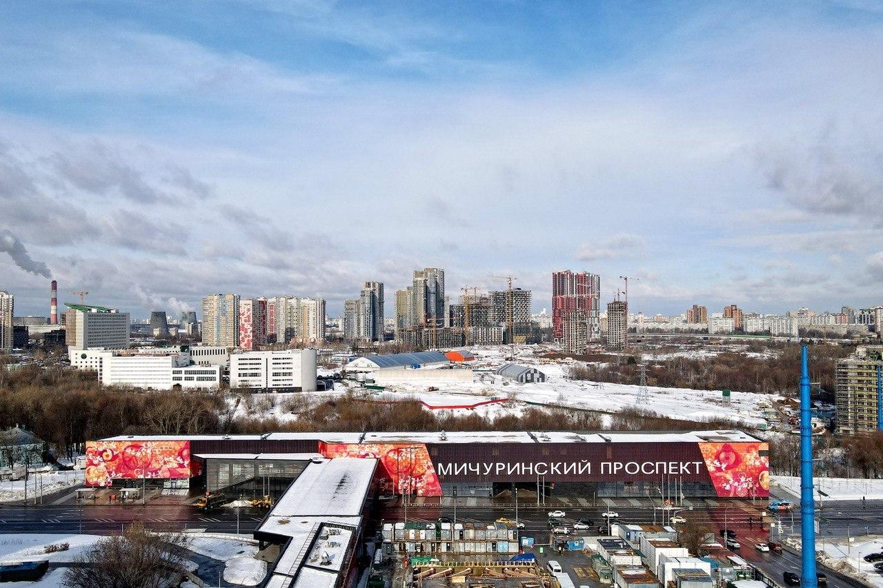 Монолитные конструкции станции «Мичуринский проспект» БКЛ готовы более чем на 80%