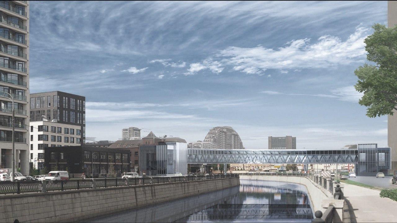 Монолитные конструкции пешеходного моста через Яузу возводятся в рамках строительства ТПУ «Электрозаводская»