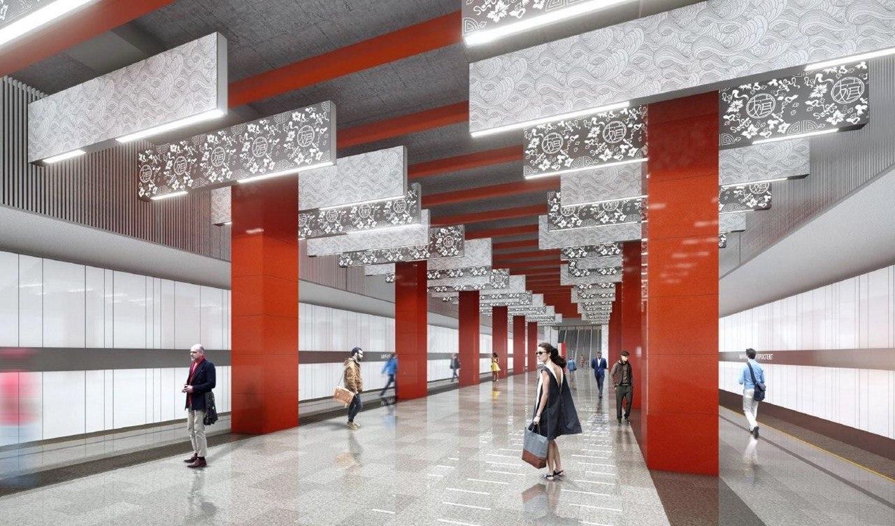 На «Мичуринском проспекте» БКЛ монтируют крепления для установки декоративных панелей
