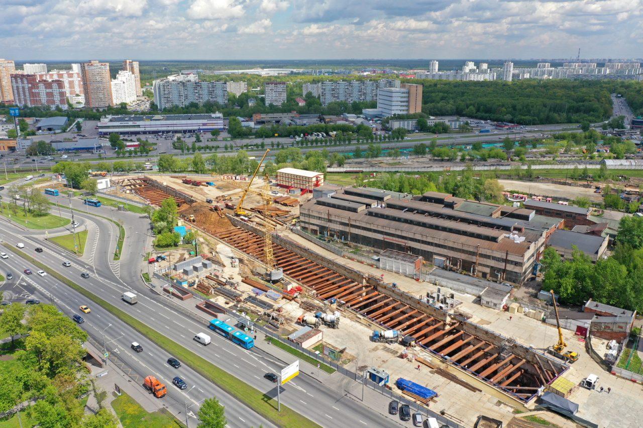 Основные конструкции строящейся станции метро «Лианозово» готовы наполовину