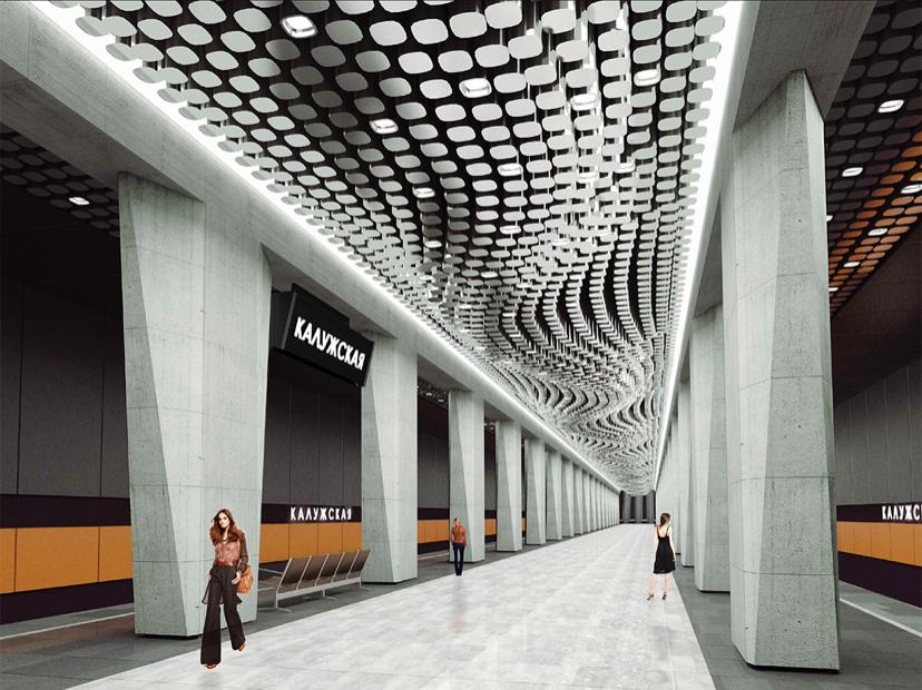 На станции «Воронцовская» БКЛ завершается монтаж подвесного потолка из 11,6 тыс. элементов