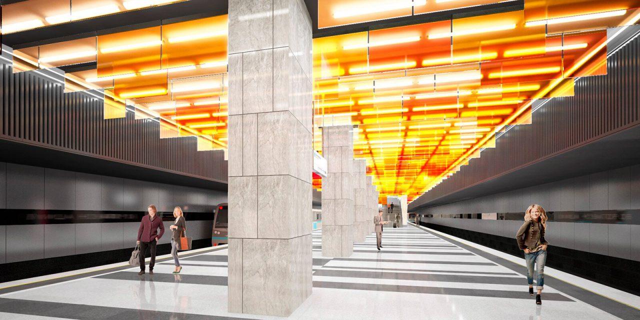 На станции БКЛ «Новаторская» начался монтаж подвесного потолка