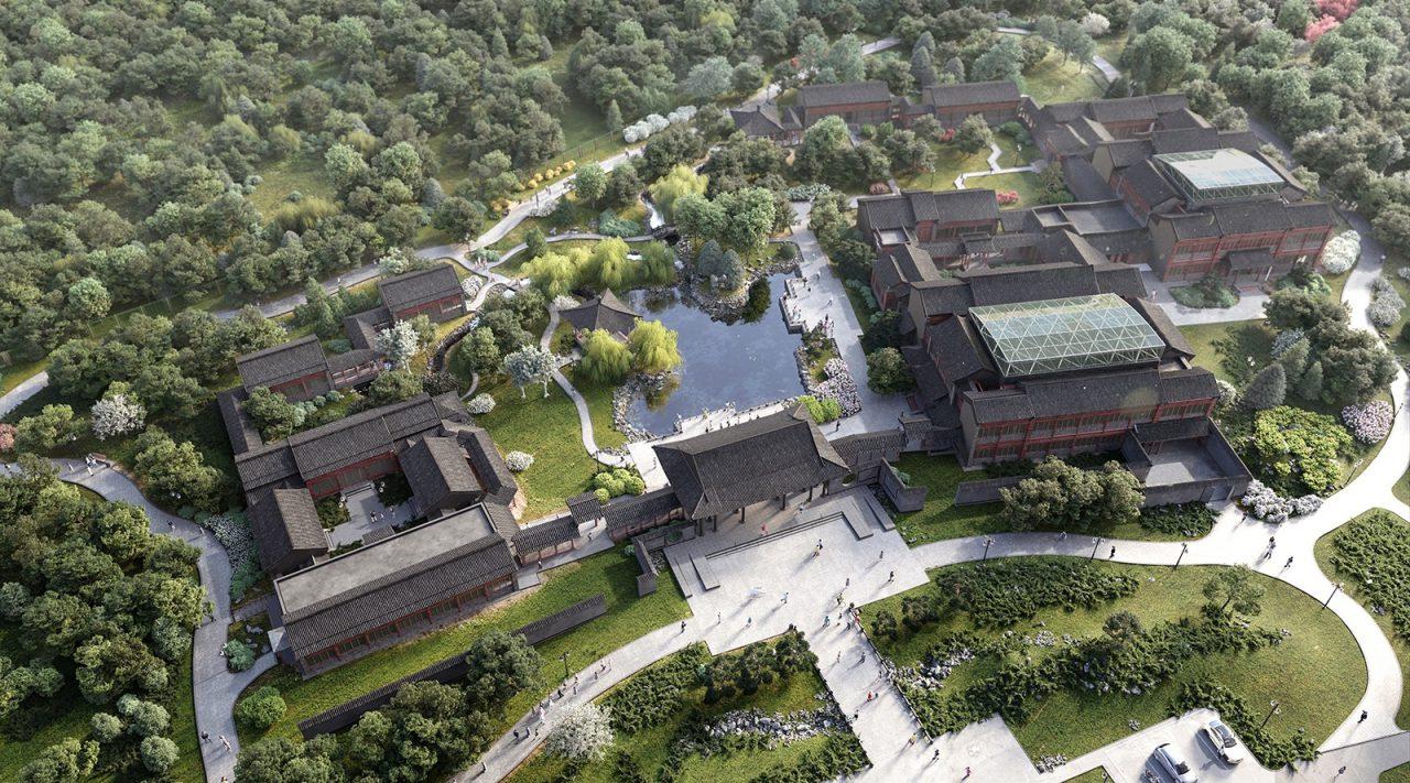 Завершается благоустройство традиционного китайского парка рядом с деловым центром «Парк Хуамин»